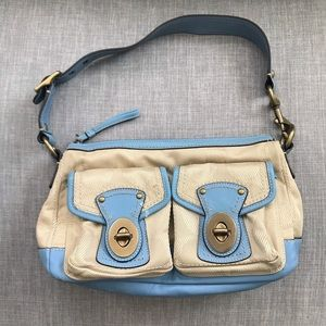 Coach Baby Blue Leather Beige Canvas Shoulder Bag